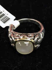 Charles Krypell Sterling Silver & 18k Ring with Cushion White Mother of Pearl