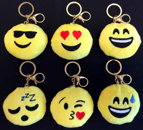 Plush Emoji Keychains, Backpack Charm or Bag Charm (Available in Six Styles)