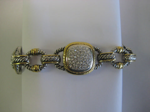 Gold & Silver Tone Crystal Toggle Bracelet