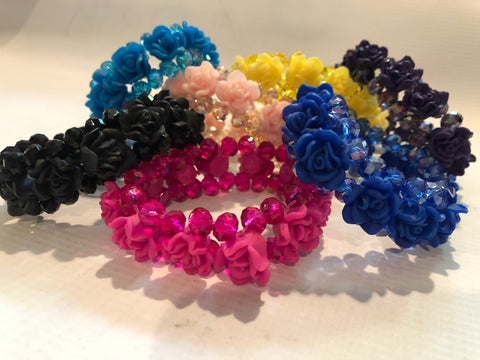 Stretch Crystal and Flower Bracelet (Various Colors)