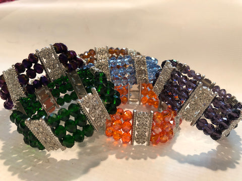 Thick Stretch Crystal Bracelet (Various Colors)