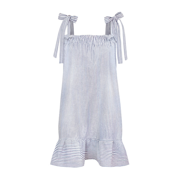 Striped linen cotton dress