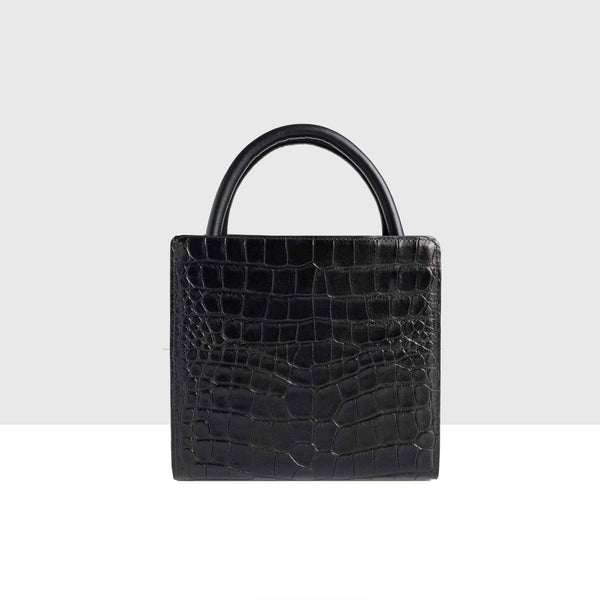 Paper Bag Micro Black Croc Mat