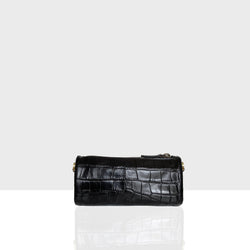 Vanity Bag Triangle Black Croc Mat
