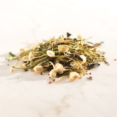 white peony tea, rosehips, honeysuckle flowers, jasmine flowers