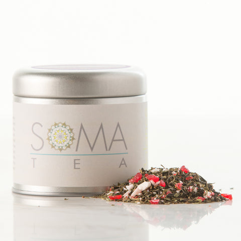 black tea, peppermint, rooibos, peppermint candy*, strawberry pieces, cinnamon and vanilla