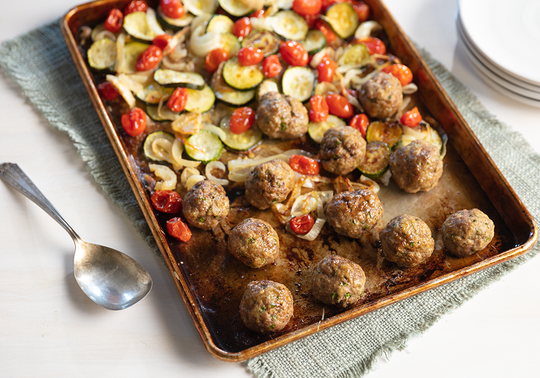 Sheet Pan Meatballs with Vegetables