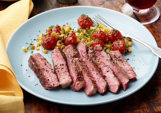 Aussie Grassfed Ribeye with Corn and Tomato Sauce