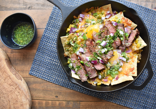 Steak and Egg Breakfast Nachos with Cilantro Lime Salsa