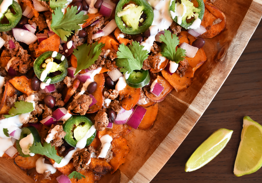 Spicy Beef and Sweet Potato Nachos