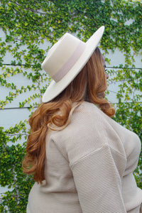 Belted Felt Hat (Cream)
