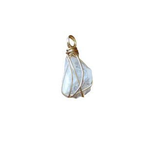 gold wrapped moonstone small point necklace