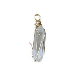 gold wrapped crystal quartz necklace