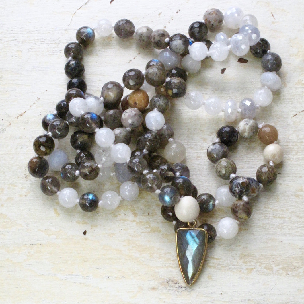 passion and strength mala made from labradorite, agate and moonstone