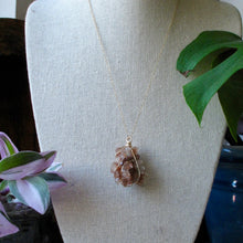Load image into Gallery viewer, gold wrapped aragonite star cluster necklace