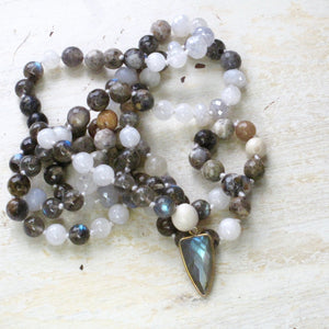 passion and strength labradorite and opal mala