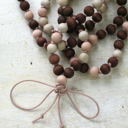 rosy hand dyed wood buddhist mala