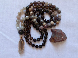 steady moon black tourmaline and moonstone mala beads