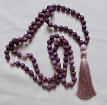 Load image into Gallery viewer, hand dyed violet wooden mala beads