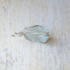 silver wrapped aquamarine necklace