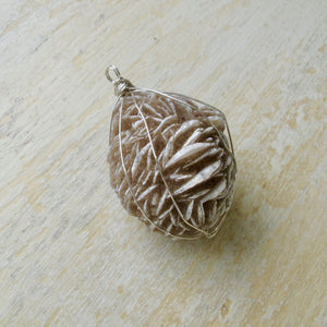 silver wrapped selenite desert rose necklace