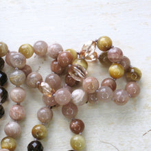 Load image into Gallery viewer, flower of fire smoky quartz tiger's eye and sunstone mala