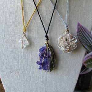 gold wrapped amethyst cluster slice necklace