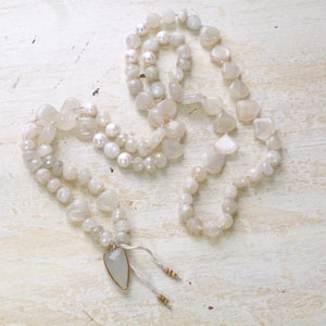 gentle love moonstone heart layering necklace