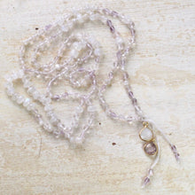 Load image into Gallery viewer, higher love rainbow mooonstone rose quartz pink amethyst halo layering necklace