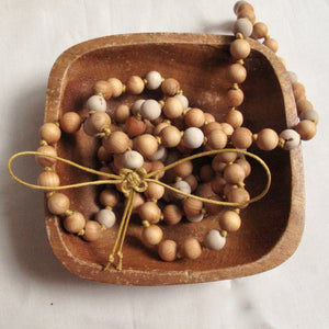 sandalwood and gray buddhist wooden mala beads
