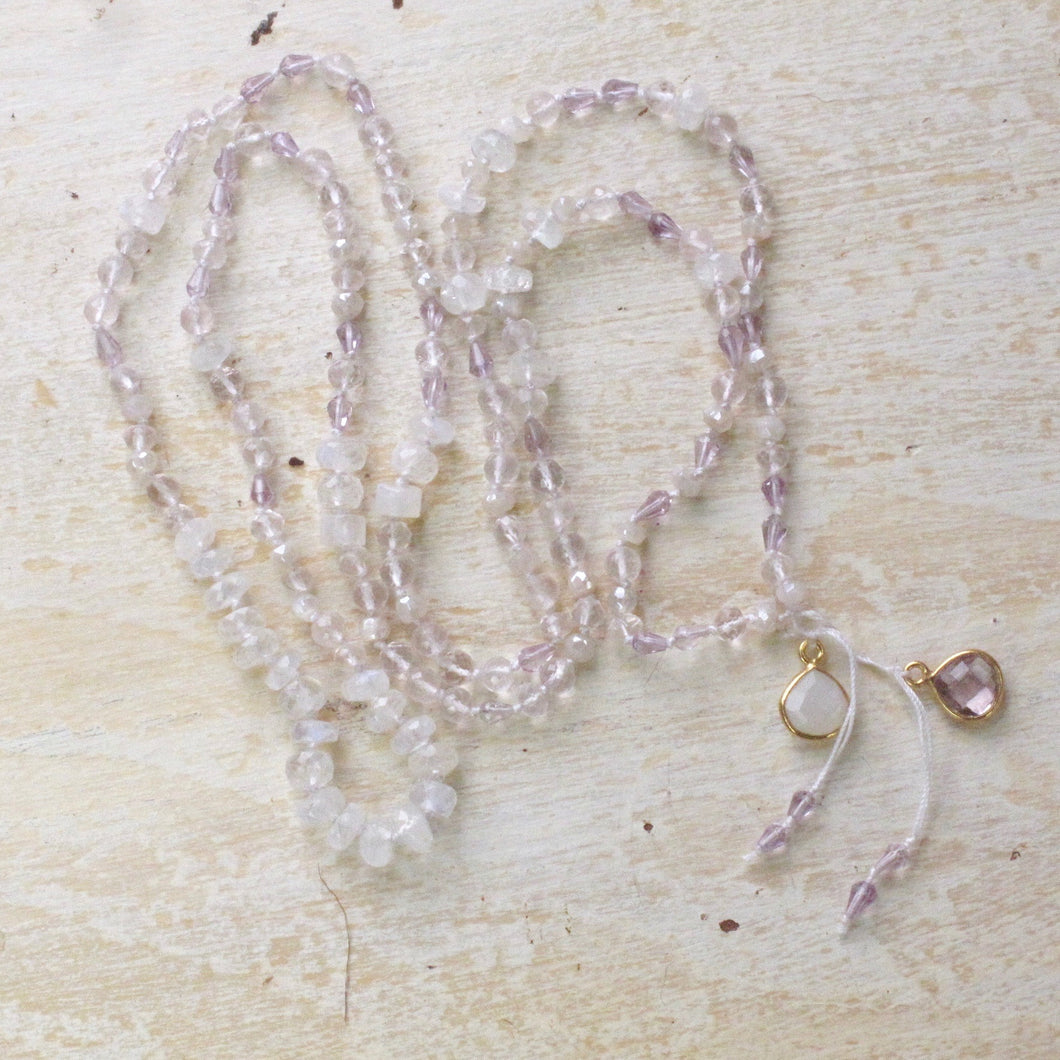 higher love rainbow mooonstone rose quartz pink amethyst halo layering necklace