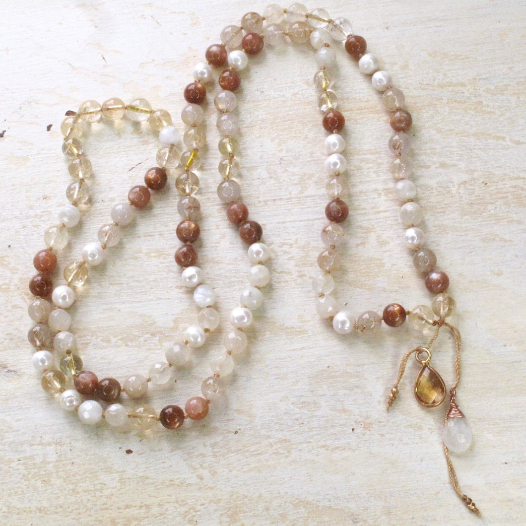 sweet light citrine rutilated quartz gemstone mala