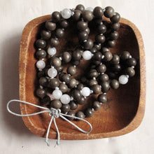 Load image into Gallery viewer, graywood and moonstone buddhist mala
