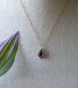 gold wrapped garnet necklace