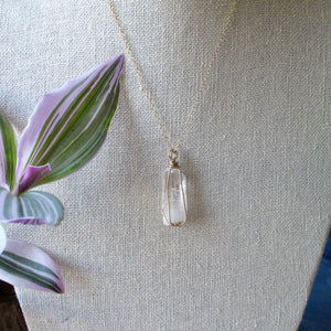 gold wrapped danburite necklace