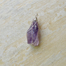 Load image into Gallery viewer, silver wrapped amethyst necklace