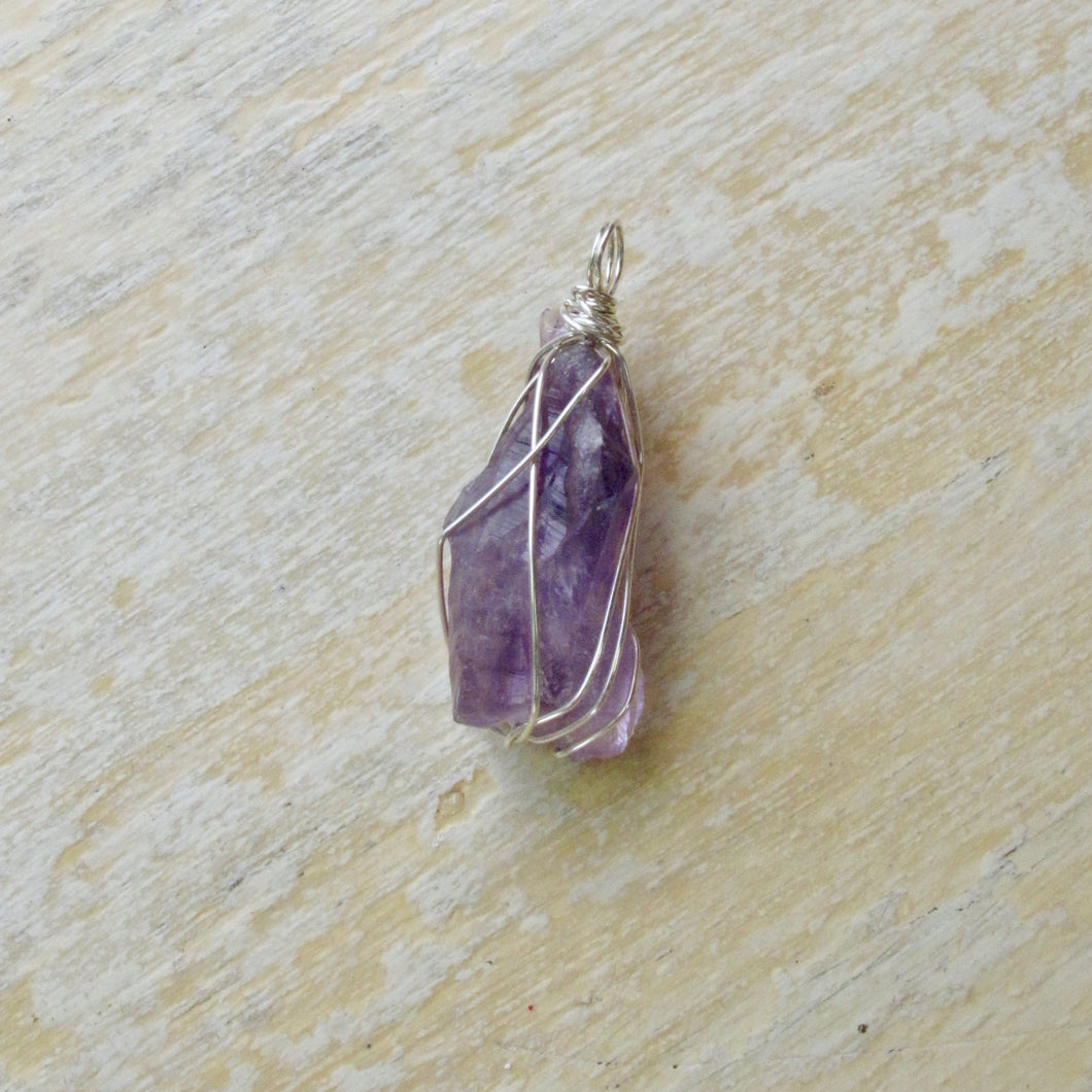 silver wrapped amethyst necklace