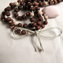 Load image into Gallery viewer, warm hand dyed wood buddhist mala