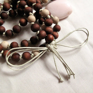 warm hand dyed wood buddhist mala
