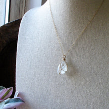 Load image into Gallery viewer, gold wrapped moonstone pyramid necklace