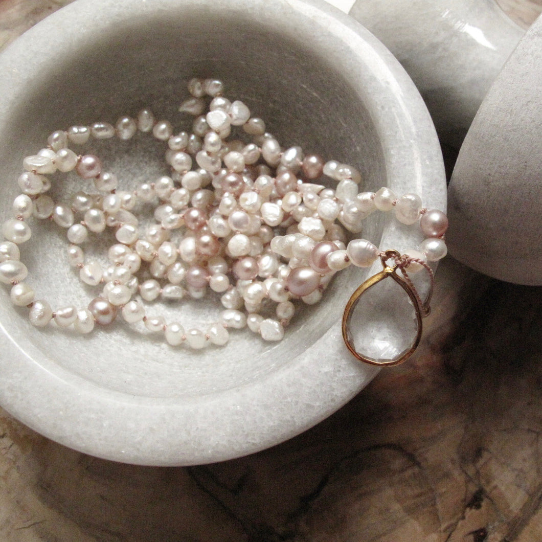 gentleness halo pearl layering necklace