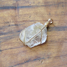 Load image into Gallery viewer, gold wrapped petalite crystal necklace