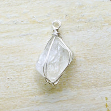 Load image into Gallery viewer, silver wrapped moonstone pyramid necklace