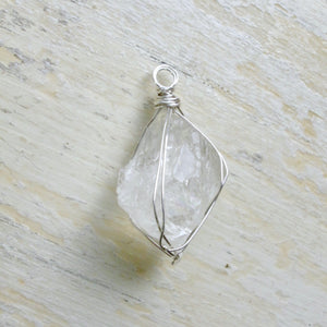 silver wrapped moonstone pyramid necklace