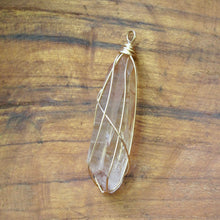 Load image into Gallery viewer, gold wrapped tangerine quartz point necklace