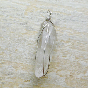 silver wrapped crystal quartz necklace
