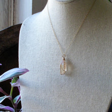 Load image into Gallery viewer, gold wrapped tangerine quartz half point necklace