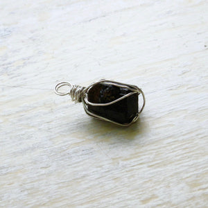 silver wrapped small dravite necklace