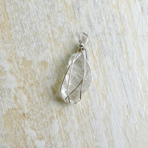 silver wrapped moonstone necklace