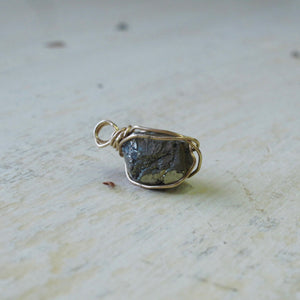 gold wrapped pyrite crystal necklace